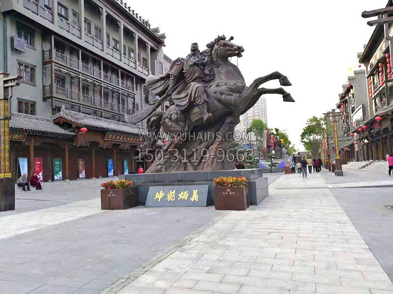 山西运城关王庙关公骑马铜雕塑像