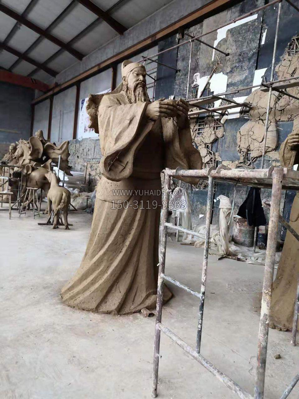 桃园三结义铜雕之关羽雕像泥稿