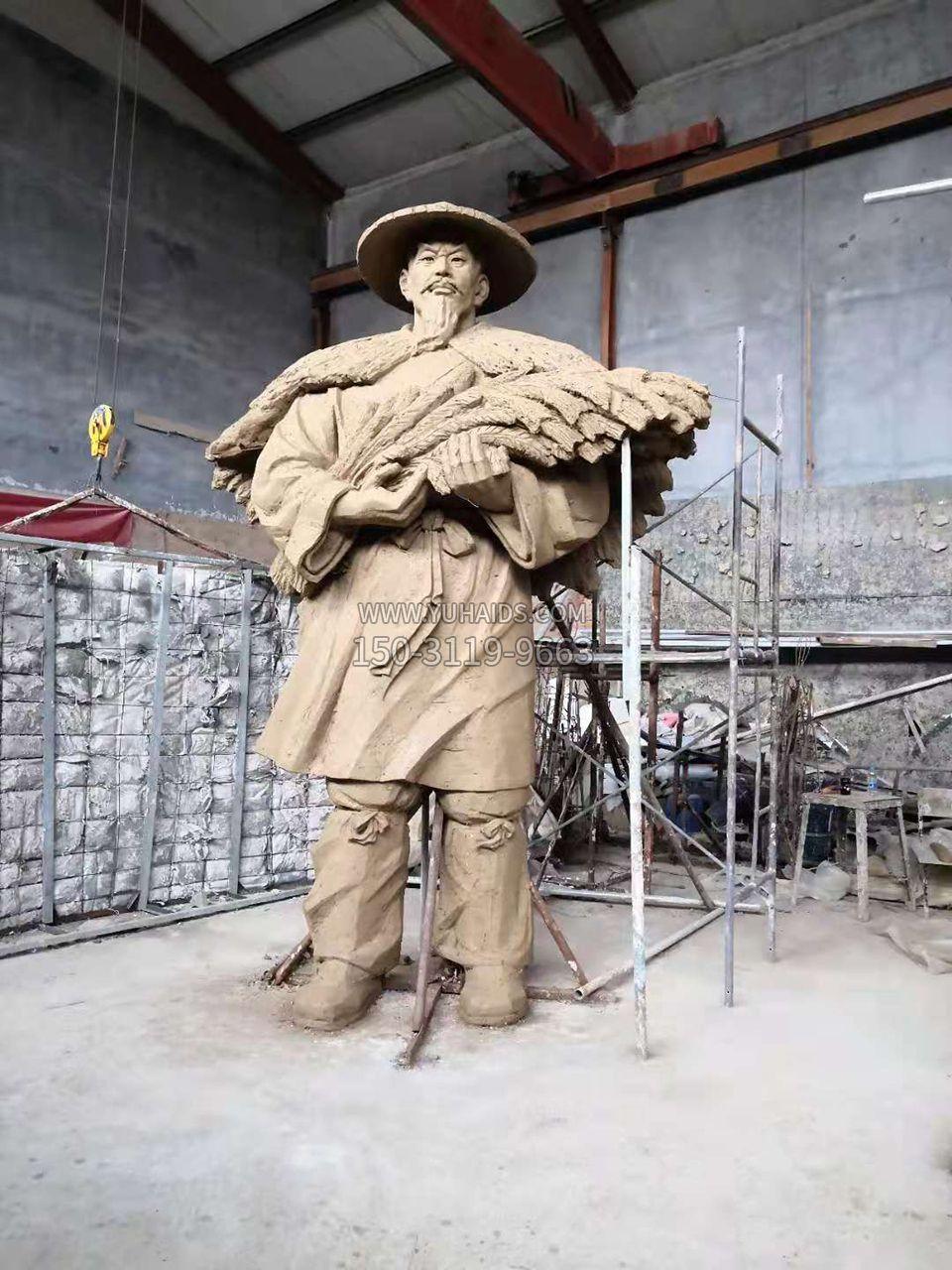 后稷稼墙雕塑泥稿